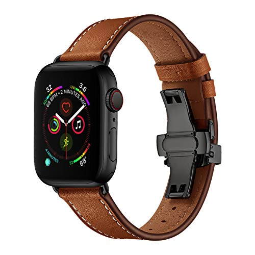 EloBeth Compatible with Leather Bands Apple Watch 42mm 44mm Band Metal Butterfly Buckle Wrist Replacement for Apple Watch Series 4/3 /2/1