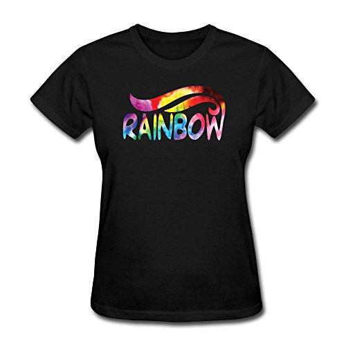 JIALE Women's Rainbow Logo T Shirt XX-Large Black (2015 Rainbow Vacuum compare prices)