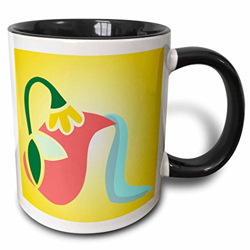 3dRose TNMGraphics Food and Drink - Flowered Greek Pitcher Pouring Water - 15oz Two-Tone Black Mug (mug_222927_9)