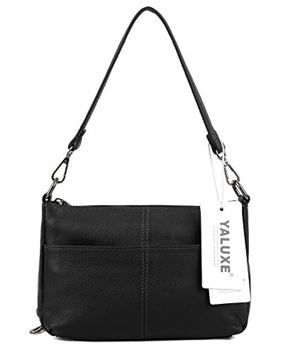 YALUXE Women's Small Size Crossbody Bag Leather Mini Purse with 6 Card Slots and fit 5.5'' Smartphone Black by YALUXE (Image #5)