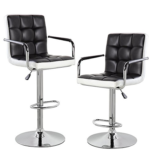 Modern Contemporary Leather Swivel Adjustable Counter Height Bar Stools with Backs and Arms Set of 2 Black White (Contemporary Arms Bar)