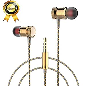 Ectreme Wired Metal In Ear Headphones, Noise Isolating Stereo Bass Earphones With Mic (Gold)