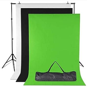 Amzdeal Soporte de Fondo 2 * 3m con 3 Fondos Fotográficos 1.6 * 2m (NegroBlancoVerde) y 2 Pinzas para Fotografía versión (Traje pequeño)