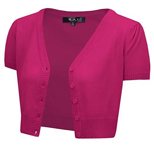 YEMAK Women's Short Sleeve Cropped Bolero Button Down Cardigan Sweater HB2137-MAG-2X Magenta