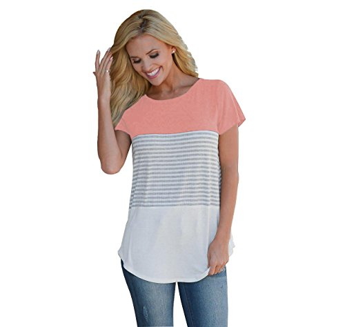Neemanndy Women's Short Sleeve Triple Color Block Summer Tops Casual Girls T Shirt Tee