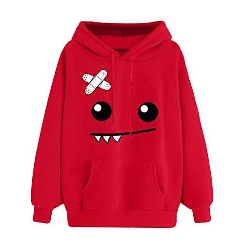 SMALLE ◕‿◕ Clearance,Women Autumn Emoticon Print Pocket Hooded Long Sleeve Sweatshirt Tops Blouse by SMALLE