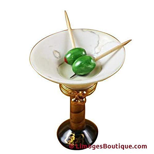 MARTINI GLASS WITH OLIVES - LIMOGES PORCELAIN FIGURINE BOXES AUTHENTIC IMPORTS