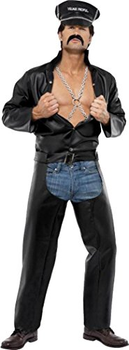 Village People Outfit (Village People Biker Costume Black Chest 42