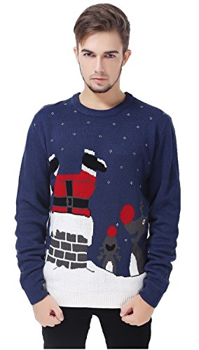 V28 Men's Christmas Reindeer Snowman Penguin Santa and Snowflake Sweater (Large, InTheChimney) (Rudolph Penguin)