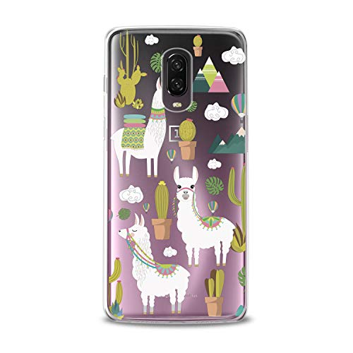 Lex Altern TPU Case OnePlus 6T 6 2018 5T 5 2017 3 2016 One+ Three 1+ New Cute Clear Llama Silicone Cactus Funny Cover Colorful Print Protective Lightweight Flexible Pattern Girl Women Pyramids Gift