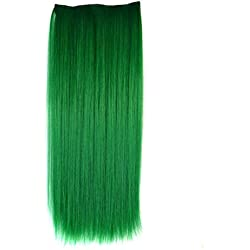 Stepupgirl Hair Extension 24 Inch Grass Green Color Straight Full Head Synthetic Clip in Wig Hairpiece