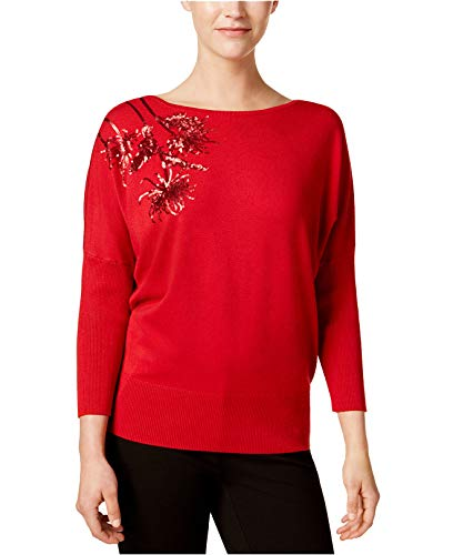 Alfani Womens Sequined Dolman Sleeves Sweater Red - Red Sweater Alfani