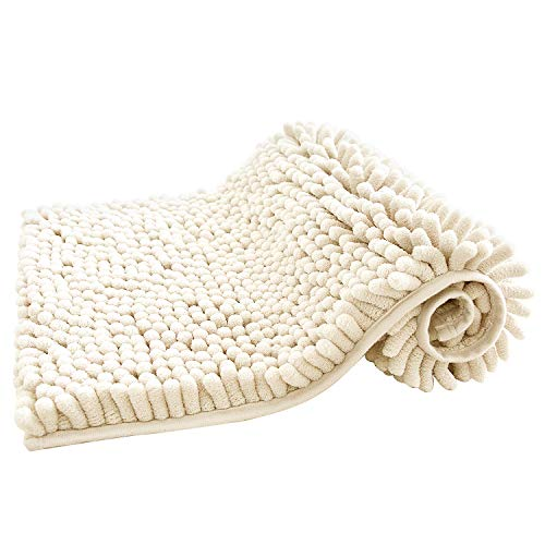 KHH Bathroom Rugs, Soft and Ultra Thick Bath Rugs, 16″X24″ Non-Slip and Absorbent Microfiber Chenille Bath Mats for Bathroom Kitchen and Living Room, Cream