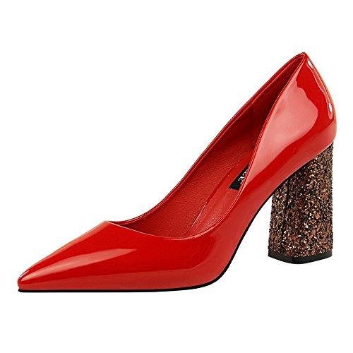 Xue Qiqi Pumps Pumps Pumps Sandalen Schuhe Hohe Hingewiesen - Schuhe Damenmode Lack Leder Schuhe mit Einer fetten Braut Rot Hochzeit Schuhe f7769a