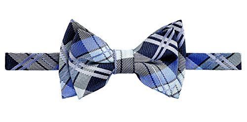 (Retreez Elegant Tartan Plaid Check Woven Microfiber Pre-tied Boy's Bow Tie - Dark Grey and Blue - 8-10 years)