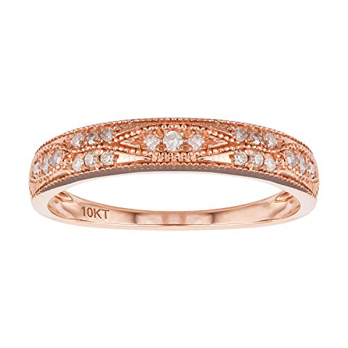 (10k Rose Gold Milgrain Diamond Wedding Anniversary Band (1/5 cttw, I-J, I2-I3))
