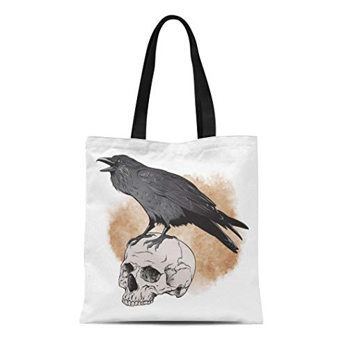 Semtomn Cotton Canvas Tote Bag Brown Poe Raven and Skull on Sepia Watercolor Scary Reusable Shoulder Grocery Shopping Bags Handbag Printed ()