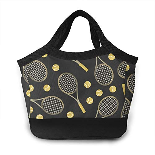- NOWDIDA Lunch Bag Insulated Lunch Box Tote Bag Large Drinks Holder Durable Thermal Snacks Organizer for Women Men Adults College Work Picnic Hiking Beach Fishing - Tennis Racquets and Tennis Balls