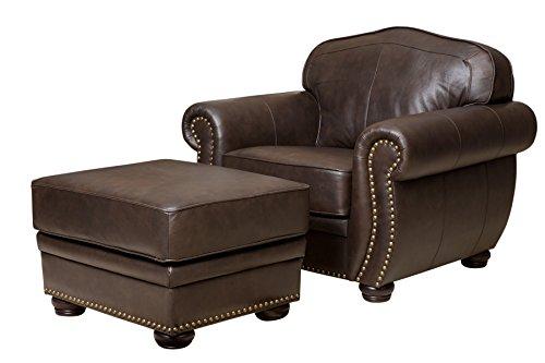 Italian Leather Ottoman (Abbyson Living Palaza Italian Leather Armchair and Ottoman)