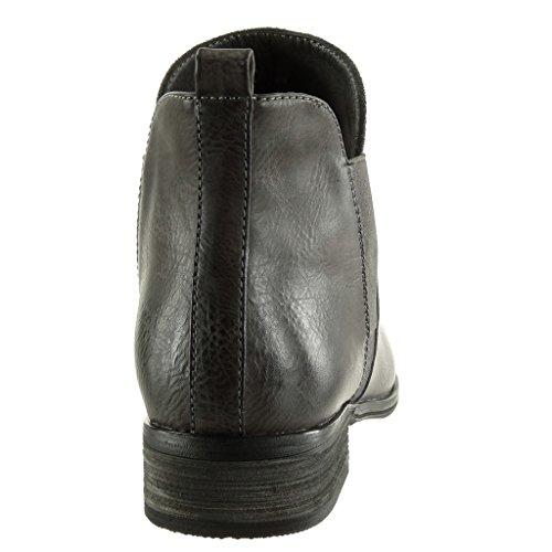 Talón Zapatillas Boots Ancho Tacón Bimaterial Cm 3 Angkorly De Moda Mujer Chelsea Cavalier Gris Botines Elástico 4dxqwCv