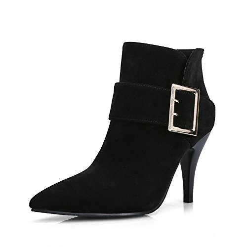 VogueZone009 Women's Solid Imitated Suede Boots with Thread