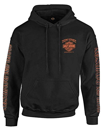 Harley-Davidson Men's Eagle Piston Long Sleeve Pullover Hoodie, Black (XL) ()