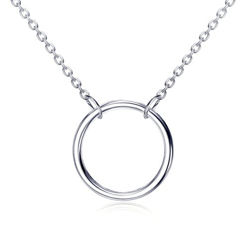 Sterling Silver Karma Open Circle Necklace with Rhodium Flashed (Silver Circle Necklace)