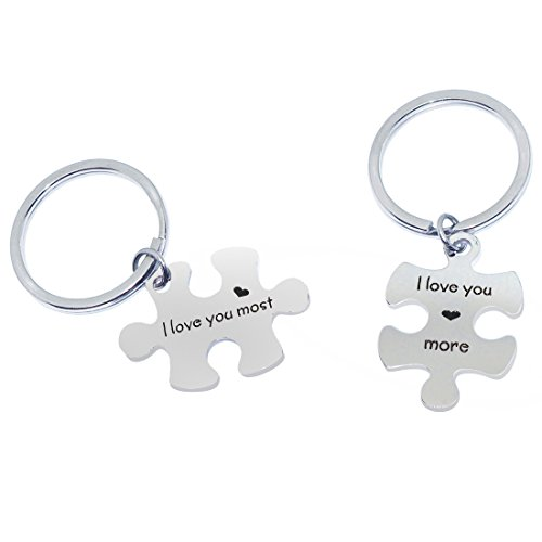 Eilygen Personalized His and Hers Couples Gift Hand Stamped Stainless Steel Puzzle Piece Keychain Set (I Love You More ,I Love You Most) by Eilygen