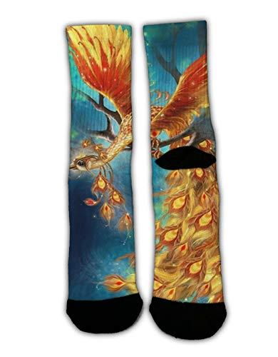 (GLORY ART Colorful Dress Socks,Golden Flaming Phoenix Bird, Teen Kids Boys Cool Novelty Funny Casual Cotton Crew Socks Slipper Socks Cozy Winter Socks)