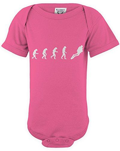 ShirtLoco Baby Evolution Of Man To SCUBA Diver Onesie Bodysuit, Hot Pink Newborn (Pink Gorilla Suit)