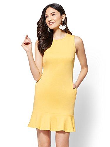 Stores Clothing York New Women (New York & Co. Women's Flounced-Hem Cotton Flare Dress Medium Delightful Daisy)