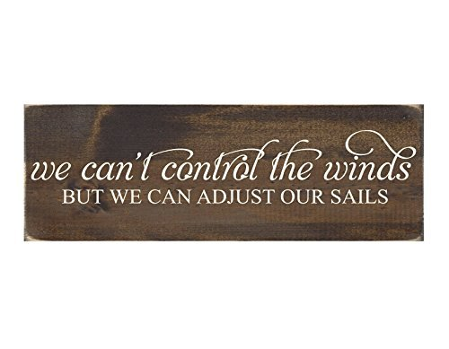 (Adonis554Dan Rustic Wood Sign Wall Hanging Home Decor - We Can't Control The Winds But We Can Adjust Our Sails)