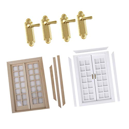 (NATFUR 2PCS 1/12scale Doll House Miniatures Exterior Wooden Door 28 Panel Locks)