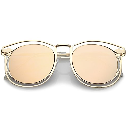 sunglassLA - Oversize Open Metal Horn Rimmed Sunglasses With Arrow Design And Round Mirror Flat Lens 55mm (Gold/Pink) (Karen Simone)
