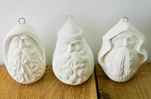 Santa Christmas Ornaments - Roly Poly - Set of 3 - Ready to Paint (Unpainted) Ceramic Bisque - Handmade in USA