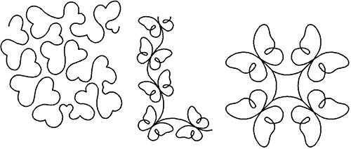 (Quilting Creations Stencils for Machine and Hand Quilting | Set of 3 Quilt Plastic Stencils for Borders, Background and Block Patterns | Heart Stipple, Butterfly Border, Butterfly Block)