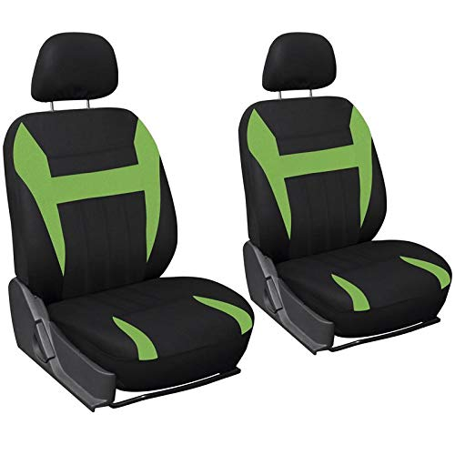 Motorup America Low Back Bucket Auto Seat Cover Set - Fits Select Vehicles Car Truck Van SUV - Green & Black
