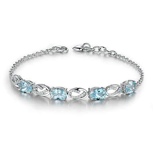 EoCot Custom Silver Plated Oval Bracelets for Women Oval Cut Blue Topaz Charm Bracelets