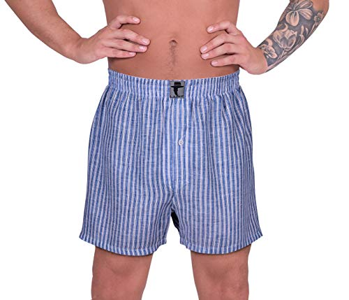 Blue Striped Boxer - LUFT Mens Soft Striped Printed Comfortable Seamless Linen Fabric Breathable Lightweight Material Elastic Waistband Boys Men Stylish Colorful Underpants Underwear Boxer Shorts, Blue White Stripe Medium