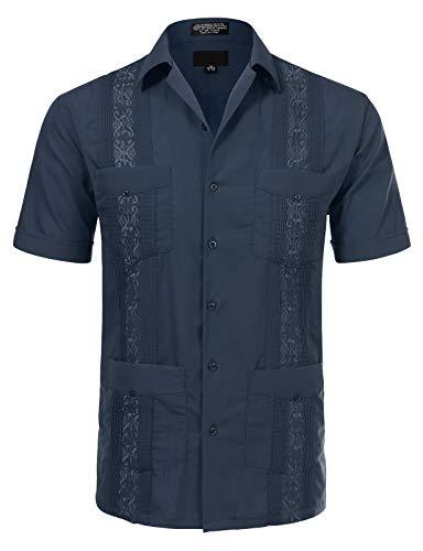 JD Apparel Men's Short Sleeve Cuban Guayabera Shirts 20-20.5N 4XL Navy -
