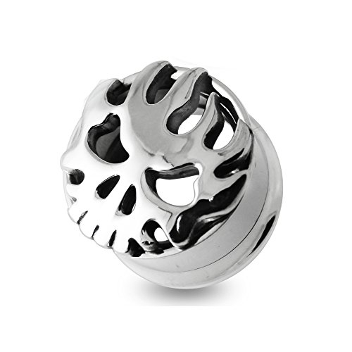 3/4 Inch - 20MM Tribal Burning Skull 316L Surgical Steel Internally Threaded Screw Fit Double Flared Flesh Tunnels