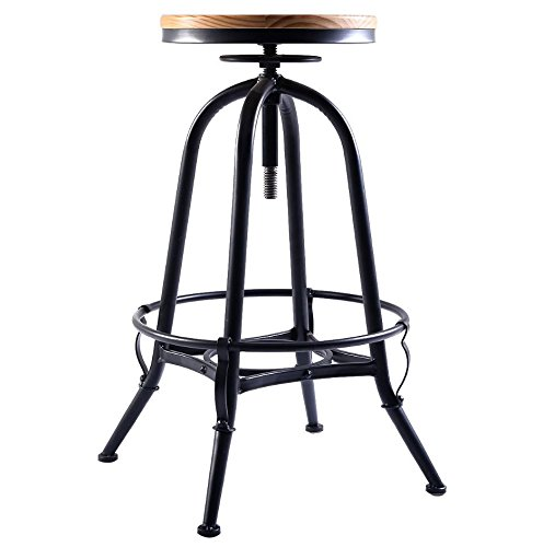 Vintage Bar Stool Adjustable Seat Height Counter Top Chair: 360 Swivel Counter
