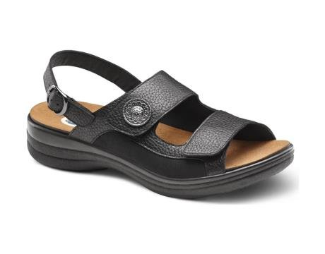 Dr. Comfort Lana Women's Comfort Extra Depth Sandal Leather Velcro - Black -8.0 Medium/Wide (B-D) Black Velcro US Woman by Dr. Comfort