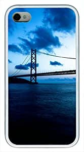 Akashi Kaikyo Bridge Custom Rubber(TPU) white Case for iphone 4 case or iphone 4s case by Cases & Mousepads