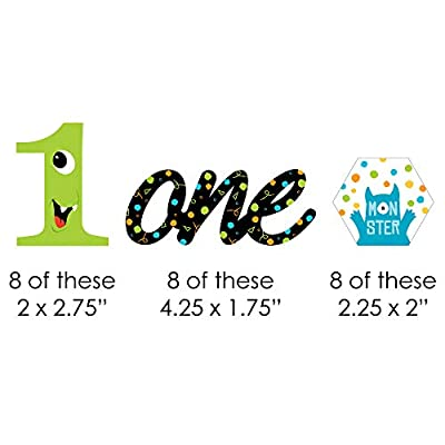 1st Birthday Monster Bash - DIY Shaped Little Monster First Birthday Party Cut-Outs - 24 Count: Toys & Games