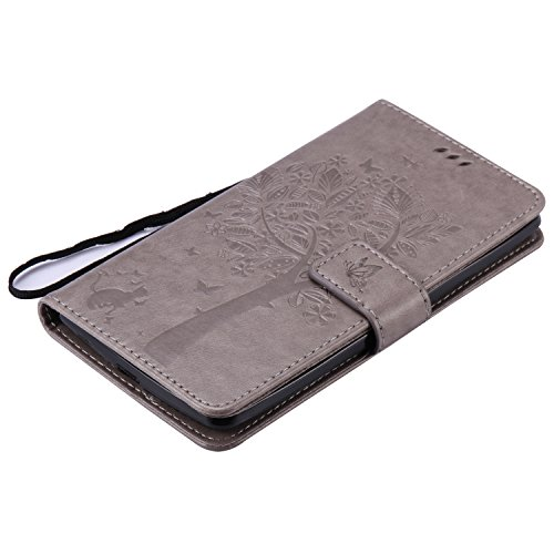 Carcasa LG G4 Stylus LS770, Funda LG G Stylo LS770, JAWSEU LG G4 Stylus LS770 Tapa Trasera Carcasa Diseño Empalme Cuero Billetera PU Leather Premium y Suave TPU Silicona Case pare LG G Stylo LS770 Pro Árbol y gato, Gris