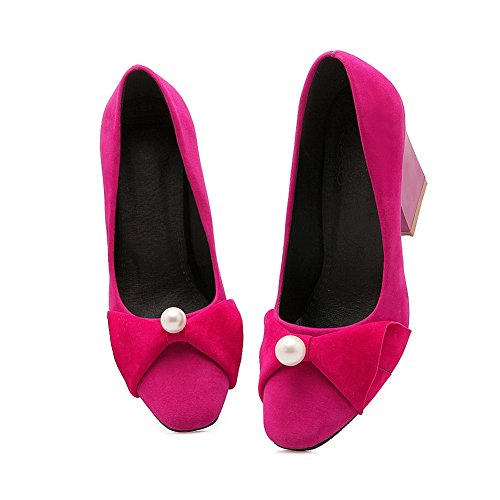 Balamasa Mujeres Chunky Heels Low-cut Uppers Pull-on Suede Bombas-zapatos Rosered