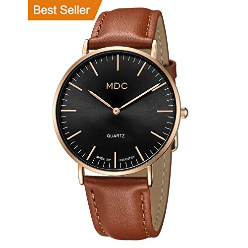 er Minimalist Watch, Ultra-Thin Slim Simple Analog Watches, Classic Casual Dress Wrist Watch for Men with Leather Band Strap, Accurate Japanese Quartz Movement ()