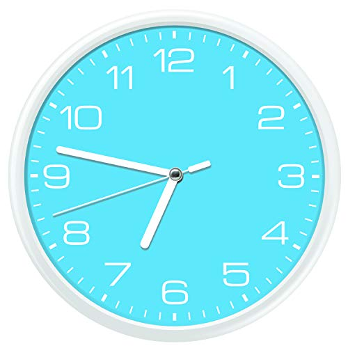 Essentially Yours Large 12 Inch Non Ticking Modern Wall Clock with Silent Sweeping Movement, Battery Operated and Included |Kids Room, Bedroom, Living Room, Office Décor, - Sky Blue