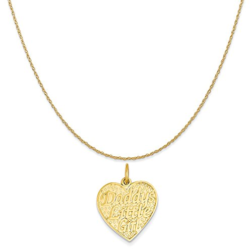 14k Yellow Gold Daddys Little Girl Charm on a 14K Yellow Gold Rope Chain Necklace, 18